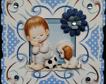 embroidered card, 3d morehead little footballer and his dog