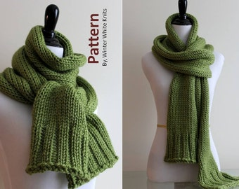 Knitting pattern- long knit scarf, PDF Instant Download Knitting Pattern, winter scarf pattern, Hand-knit scarf pattern