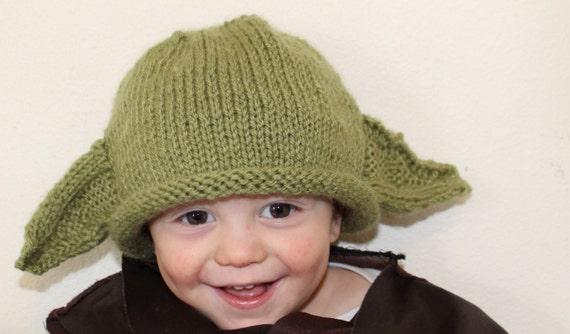 Yoda Hat Yoda Beanie Green Knit Hat Handmade Knit by ...