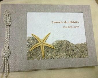 Custom Wedding guestbook- beach party guestbook-linen guestbook-summer wedding-starfish