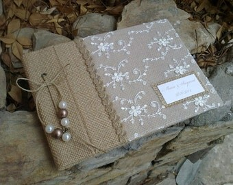 Lace and burlap guestbook  - unique wedding guestbook -rustic guest book - best bridal gift-guest sign book