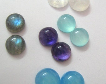 Lot of Mix Gemstone Labradorite,Blue Chalcedony,Amethyst,Aqua Chalcedony,Rainbow Moonstone 10x10 mm Round Cabochons