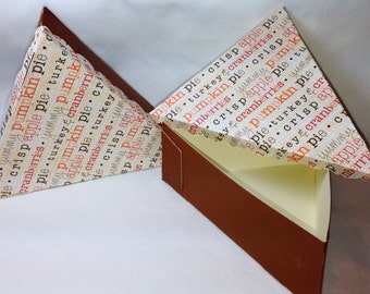 Pie Boxes - Thanksgiving Words w/ Vanilla Cream Card Stock Lining- 6