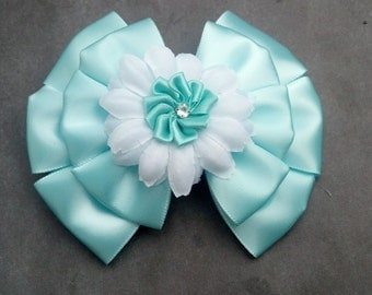 Aqua Hairbow, Flower Hairbow, Girls Hair Accessory, Girls Hairbow, Elegant Hairbow, Little Girls Hairbow, Wedding Hairbow, Girls Hair Clip