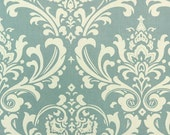 PREMIER PRINTS FABRIC - Village Blue and White Ozborne Damask Twill - Home Decor Fabric By The Yard