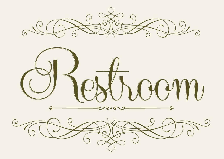 Wedding Reception RESTROOM Sign 5 x