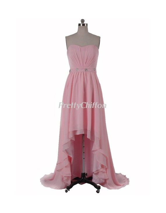 Sweetheart High Low Chiffon Dress With Beaded Waistband, Strapless Pink Bridesmaid Dress