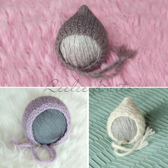 Pattern - Set of 3 Newborn Bonnet Knitting Patterns - Knit Newborn Patterns