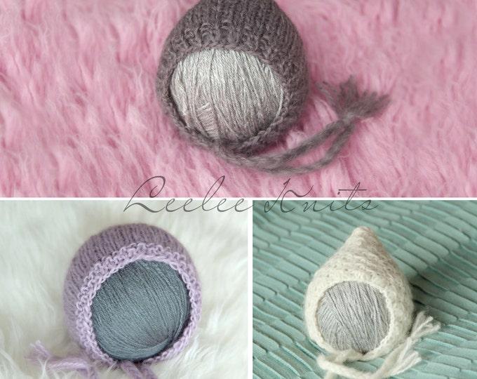 Pattern - Set of 3 Newborn Bonnet Knitting Patterns - Knit Newborn Patterns