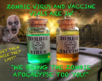 Zombie virus and zombie vaccine necklace, inspired by the walking dead jewelry zombies vials
