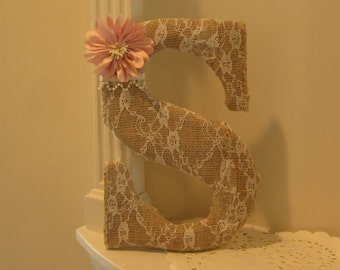 Letters Burlap Wrapped, Monogram Wooden Wedding, Nursery, Wall Letter, Personalized Gift, Baby Shower, Wedding, Christmas, Letters A to Z