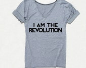REVOLUTION Tshirt with sleeve tabs, unique, rock shirt with v neck - REBELIAM