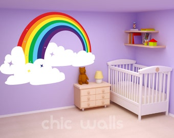 Rainbow & Clouds Wall Art Decor Dcal Sticker Mural Kids Room