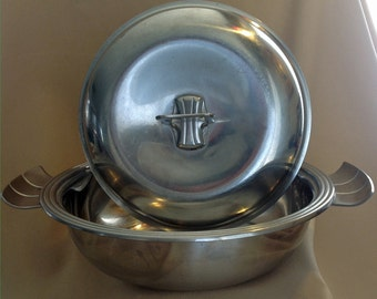Vintage, Swedish Genese Stainless 18-8 cook pot with side handles.