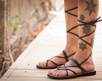Black Leather Sandals, Black Gladiator Sandals, Greek Sandals, Summer Shoes, Flat Sandals , Free Shipping