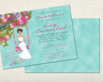 Swingin' Romance Bridal Shower Invitations - Brunette