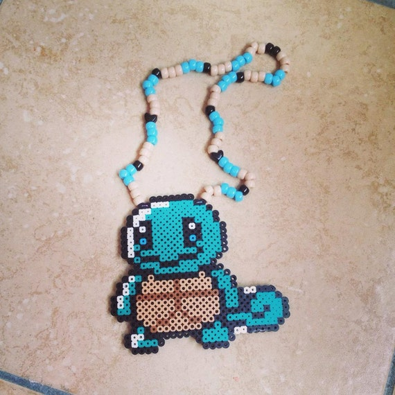 squirtle perler bead necklace