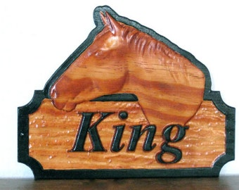 Custom Horse Stall Sign 3D Horse Gunstock Name Stable Personalized Horse Tack Room / Barn Door Stall Sign Stable Decor Equestrian Plaque