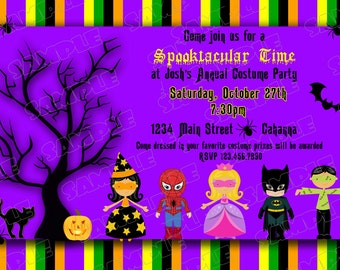 Halloween party costume invitation any colors UPrint customized card by greenmelonstudios