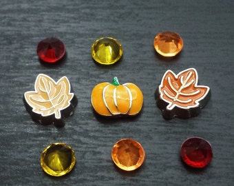 Fall Floating Charm Set for Floating Lockets-9 Pieces-Gift Ideas