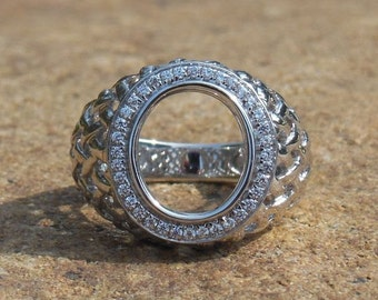 Free Shipping 14K White Gold Oval Shape 10x12MM Semi Mount Ring For Men
