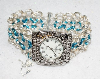 Watch  with chainmaille band