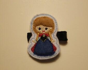 Snow princess hair clippies (set of 2)