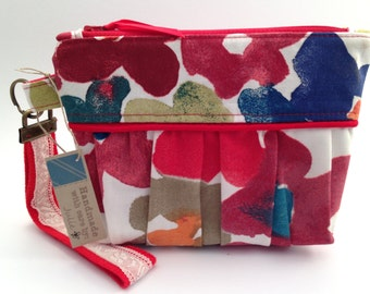 Red Floral Zipper Pouch Wristlet