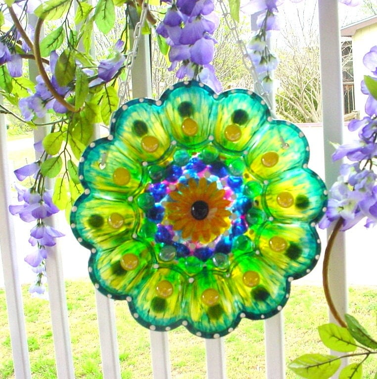 Glass Garden Plate Flower Yard Art Flower Glass Plate Flower