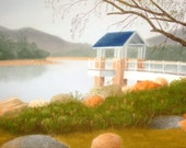 Original Pastel Drawing: Landscape drawing of country park view II