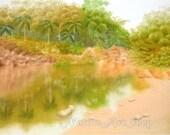 Original Pastel Drawing: Garden View