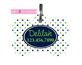 Personalized Pet Tag, Dog Tag, ID Tag, Blue And Green Dots Pet Tag With Name And Phone Number
