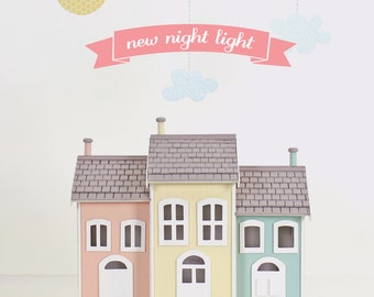Casita Night Light - Pink, Yellow, Blue-  Handmade