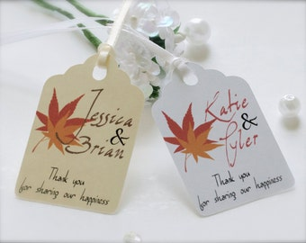 Fall wedding favor tags, personalized tags, wedding favor tags, party favor tags, thank you tags, leaves tags, autumn wedding - 30 count