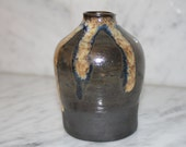 Black Clay Jug ceramic bottle in brown and yellow vase pitcher sake bottle