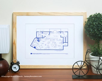 Mary Tyler Moore Show Apartment Floor Plan - TV Show Floor Plan - BluePrint for Residence of Mary Richards
