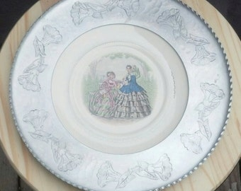 Vintage Faberware Plate Charger/Wrought Aluminum Wrapped Ceramic Plate/Brooklyn NY Farberware Plate/Centerpiece/Wall Art/Candy Dish/ F273