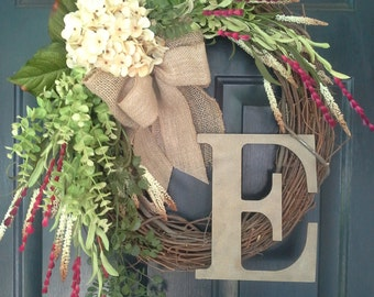 FALL wreath, Cream Hydrangea with Red Wildflower, Everyday wreath, Wreath for Door, Hydrangea Wreath