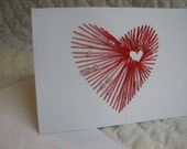 hand embroidered red heart in heart with white beads valentine card
