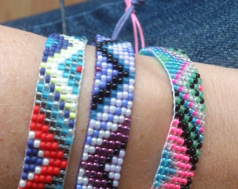 Loom beaded bracelet/Bohemian gypsy boho summer festival beach colourful stack native inspired bracelet
