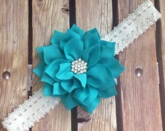 Teal headband, blue headband, blue and white headband, elastic headband, flower girl headband, halo, flower headband, floral headband,