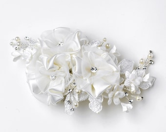 Ivory Matte Satin Sheer Organza Lace Floral Hair Comb with Sprays of Pearls & Rhinestones