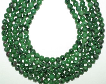 Ruby Zoisite Beads 6mm, Round Beads 16 inches Strand, Green African Ruby Zoisite 6mm Beads