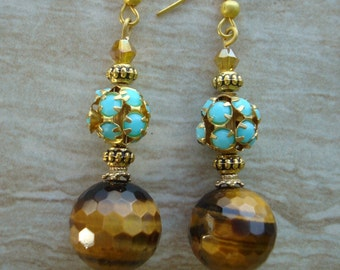 Earrings Tiger Eye Dangle Earrings Tiger Eye Drop Earrings Beaded Earrings