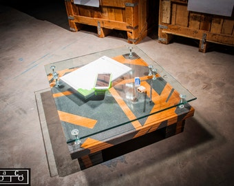 Coffee table style futon wood and glass.