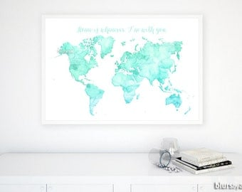 World map quote etsy custom quote color size printable world map watercolor world map quote map gumiabroncs Gallery