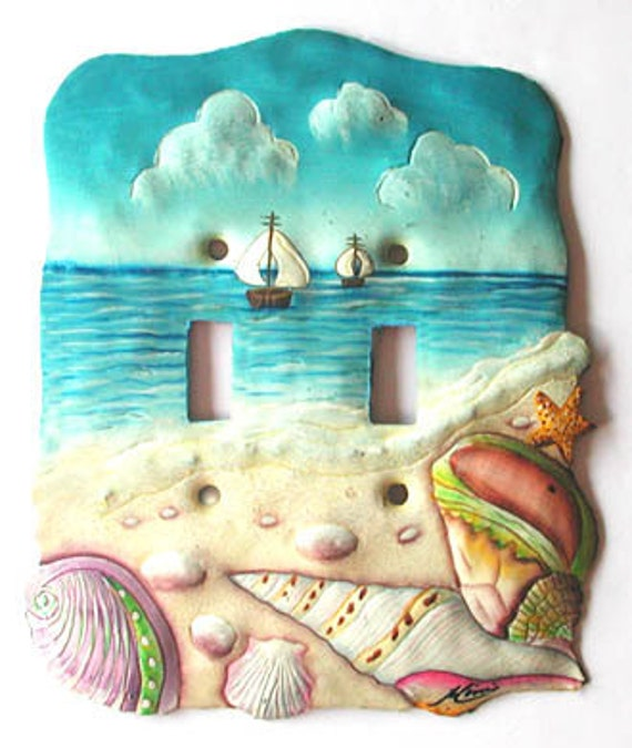 Hand Painted Metal Light Switchplate Cover Tropical Decor