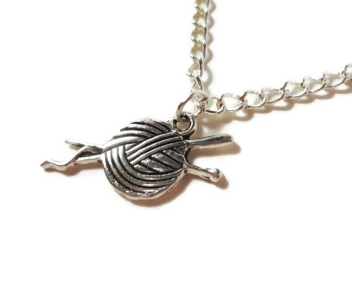 Knitting Needle Gauge Necklace : Silver yarn charm necklace sewing knitting needle