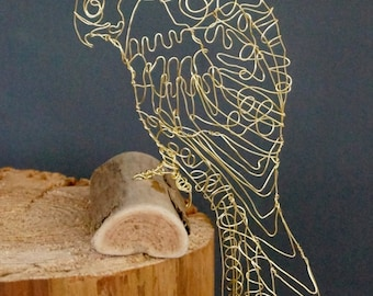 Sculptural Wird Bird Drawing of a KESTREL