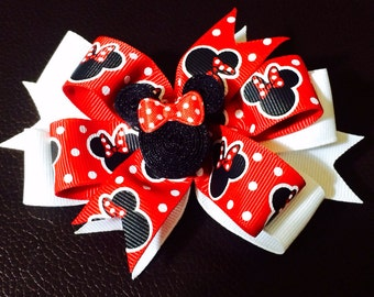 Red Minnie Mouse Bow/ Clip...red, black and white polka dots